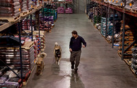 Jerry & the dogs having fun in the warehouse